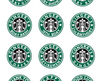 Personalized Starbucks Coffee round stickers party favors * Birthday * Baby Shower * Retirement * Thank you * DIY PRINTABLE