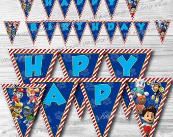 "Paw Patrol Happy Birthday Banner Printable INSTANT DOWNLOAD - Paw Patrol Banner ""Happy Birthday"" Paw Patrol Birthday Banner"