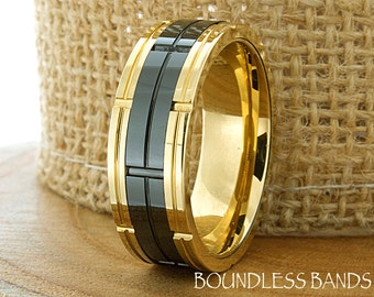 Mens Tungsten Ring Yellow Gold Black Flat Brick Pattern 8mm Anniversary Wedding Promise Comfort Fit Band Ring For Him FREE Laser Engraving