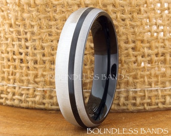 Tungsten Wedding Ring Band Dome Mens Band Gun Metal Tungsten Ring Anniversary Ring Promise Ring Engagement Comfort Fit Mens Tungsten Band
