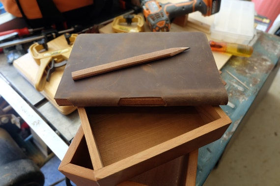 Rustic Leather Carpenter Sketchbook, Notebook or Journal with Built-In Wood Carpenter's Pencil