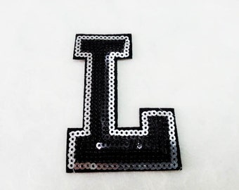 Alphabet Letter L Iron on Patch - Black Sequin L, Glitter Applique Embroidered Iron on Patch - Size 5.4x7.7 cm#T1
