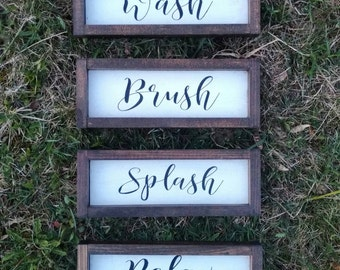 Delicieux Bathroom Wall Decor, Rustic Chic Bathroom Signs Set Of 4, Brush, Wash,