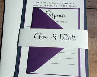 Purple and Green Wedding Invitation Suite, Enchanted Forest Wedding Invitation, Pocketfold, Modern, Script, Purple, Green, Jade, Stacked