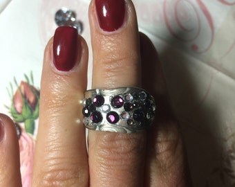 Fancy ring made of silver spoon style with fine glass blocks