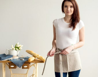 Natural Linen Waist Apron with two pockets