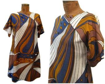 Vintage 60s Vera Neumann dress, 60s Vera Neumann shift, brown blue Vera Neumann, magazine piece, 60s mod dress