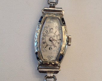 Antique Deco ladies watch 20k white gold faux blue sapphires with fancy floral dial 15 Jewels Blancpain Stretch Speidel GF band