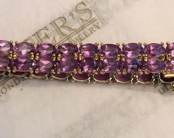 "Vintage 14k yg Double Row Line Bracelet 58 Oval Amethysts, 20.00 ctw, 7"", 8.7mm wide"