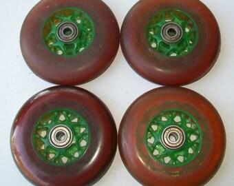 Vintage 1980's Elliptical Skateboard/Rollerblade Wheels - Plastic Rims - APEC 7 Bearings