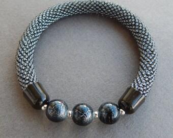 Bead crochet bracelets, 3pce set
