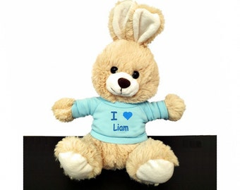 Personalized I Love Easter Bunny - Tan with Blue Shirt, 10 Inch