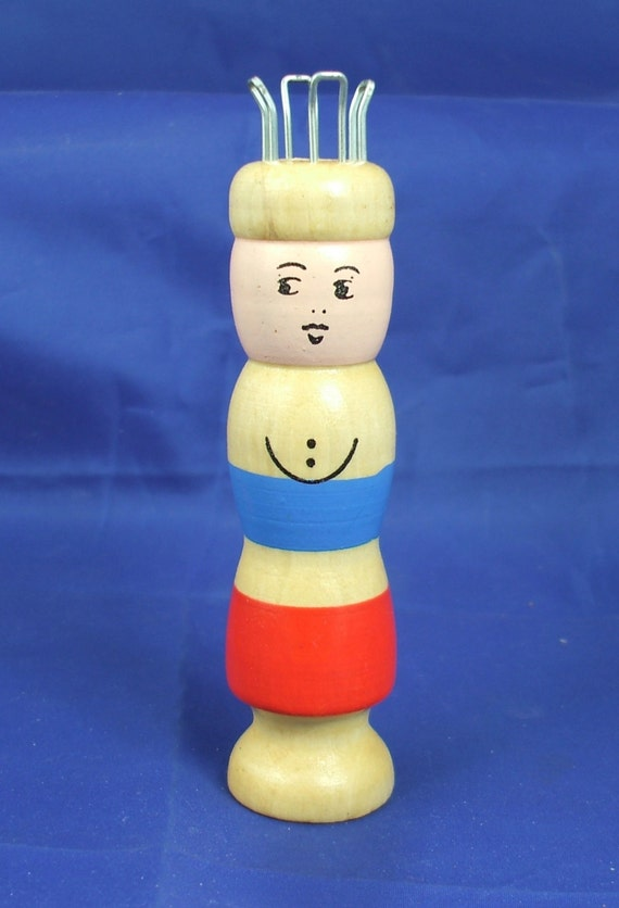 Wooden Knitting Doll : Vintage wooden spool knit doll knitting nancy from