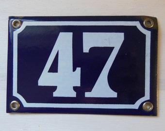 Vintage French enamel HOUSE NUMBER SIGN 47