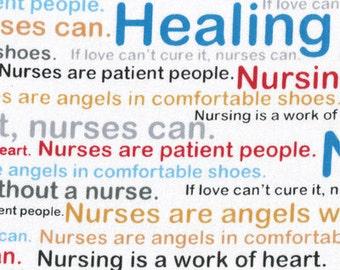 Calling All Nurses Fabric / Healing Words  / Windham Fabrics 37301 / Medical Fabric / Nursing Fabric by the yard / Yardage & Fat Quarters