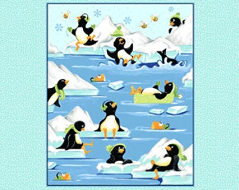 Susybee Gwyn  Penguins at Play Fabric Panel, Children's Fabric, Fabric Panel  penguins on blue, SB20235-930