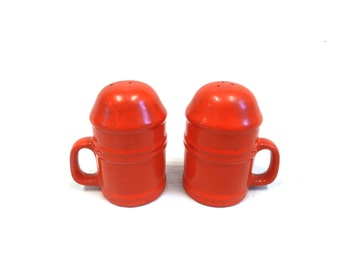 Vintage Red Ceramic Salt and Pepper Shakers with Handles