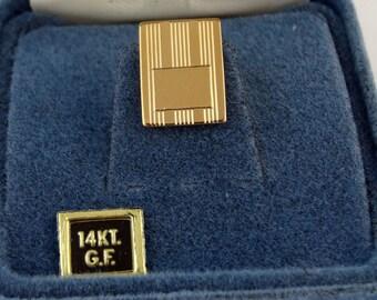 Vintage Anson NOS Tie Tack Pin 1/20 14KGF Gold Tone Engravable Rectangular