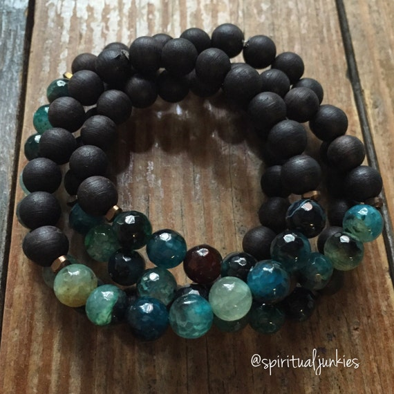 Stackable Mala Inspired Black Sandalwood + Dragon Vein Agate Yoga and Meditation Bracelet (Single Bracelet)