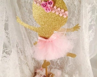 Dancing Ballerina Girl Centerpiece - Ballet - Dance - Baby Shower - Nursery - Mom To Be - Birthday - First - Pink and Gold - Tutu - Dancing