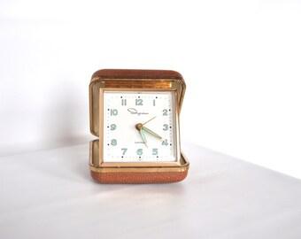 Vintage Travel Alarm Clock Ingraham Luminous Made in Japan