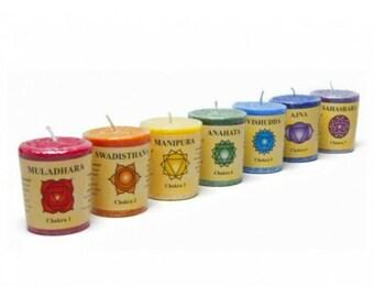 Seven Chakras Aromatherapy Votive Candle Gift Set - Chakra Balancing, Wellbeing, Balance, Energy Healing