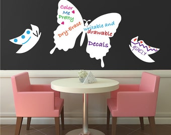 Butterflies, Butterfly Wall Decals, Dry Erase Wall Decals, Butterfly Wall Designs, Removalbe Dry Erase Decals, Removable Butterflies, b66