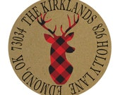 Christmas Round Return Address Labels, Kraft Brown Labels, Stag, Buffalo Check Red and Black Plaid Deer, Plaid Stag, Christmas Stag