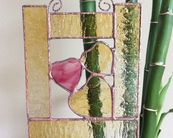 Stained Glass 3 Hearts Sun Catcher Wall Hanging Original Design
