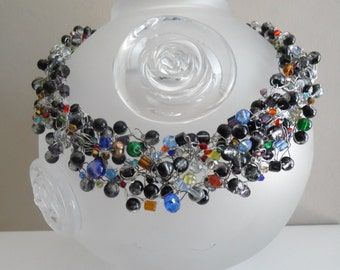 Crochet wire necklace, Beaded crochet jewelry, For every occasion, Multicolor, glass beads,crystal, sparkle, lush