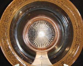 30's Pink Depression Glass Rolled Rim Console Bowl w/ Gold Encrusted Border