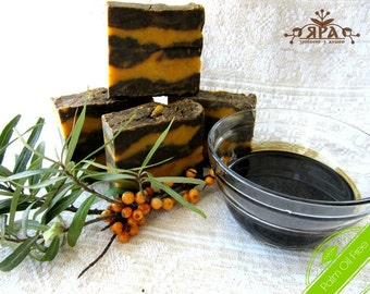 Birch Tar Soap with Sea Buckthorn Oil || Natural and vegan soap for skin diseases || Sensitive skin soap