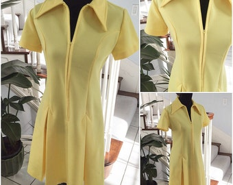 Vintage Yellow Scooter Dress Large