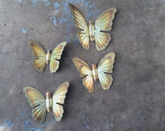 Vintage Metal Butterfly Wall Hangings Set of Four