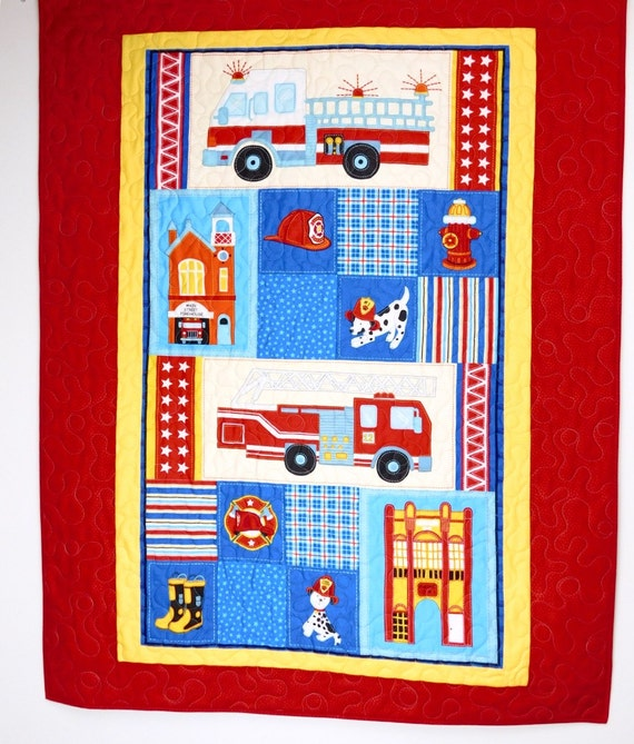 firefighter baby quilt fireman crib bedding by