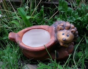 Ceramic handmade planter hedgehog for plants,boot planter pot,ceramic hedgehog, hedgehog  yard decor, hedgehog plants, ceramic planter