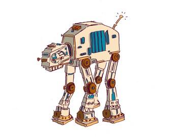 Star Wars AT-AT Pup Illustration Print