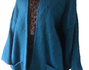 Turquoise Jacke,Bat Wing Coat, Turquoise Wool Coat,Textured Wool Batwing Jacket,Aqua Wool Batwing Jacket,Aqua Soft Wool Jacket,Drapey Jacket