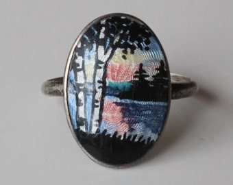 Vintage Rare Sterling Silver Enamel Guilloche Scenic Ring.