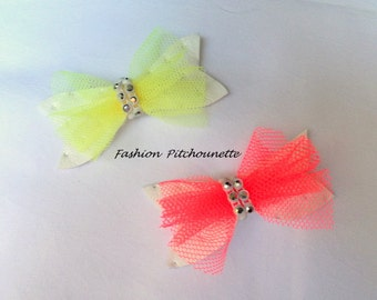 Barrette hair Click Clack baby child Butterfly yellow pink and white