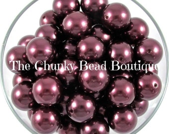 20mm maroon resin pearls, 10 pieces