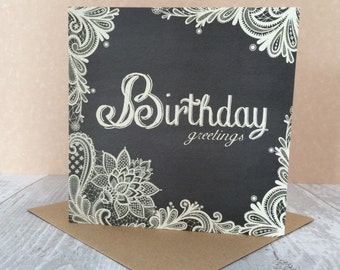 FREE SHIPPING * Birthday Greetings card from the 'Vintage Lace' collection