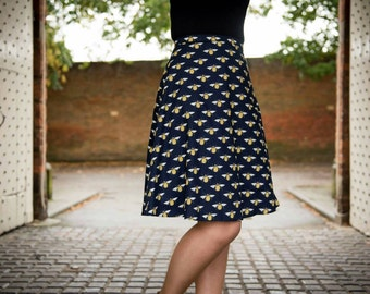 Bees cotton print Navy Aline skirt knee length