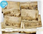75% OFF SALE Beautiful Cities - Digital Collage Sheet Digital Cards C153 Printable Download Image Tags Digital Atc Cards ACEO Modern Cards