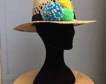Staw Pompon Panama Hat