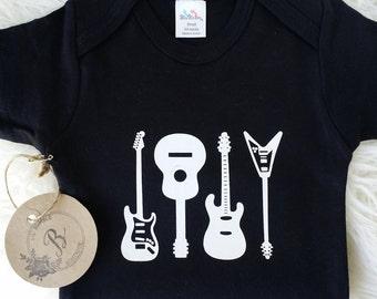 Rock n Roll bodysuit, Guitar onesie, Musician onesie, Newborn outfit, Guitar shirt, Rock n roll onesie, Black bodysuit, Toddler clothing