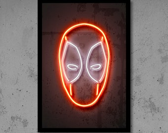 Deadpool Wall Art Deadpool Nursery Deadpool Neon Superhero Wall Décor Kids Room Wall Art Deadpool Gifts Neon Art Avengers Art Gift for Him