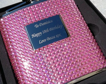 Engraved Pink Crystal 6oz Stainless Steel Hip Flask - Personalised Bridesmaid Gift