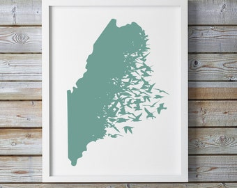 Maine Sea Gull Letterpress Print