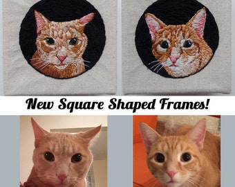 Custom Portrait, Custom Pet Portrait, Custom Pet Embroidery, Embroidered Pet Portrait, Custom Pet Art, Embroidered Cat, Custom Cat Art